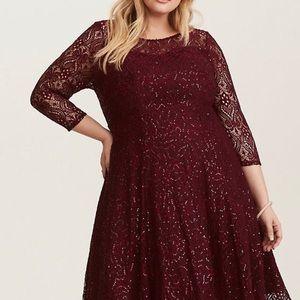 Torrid Special Occasion Merlot/Wine Sequined Dress